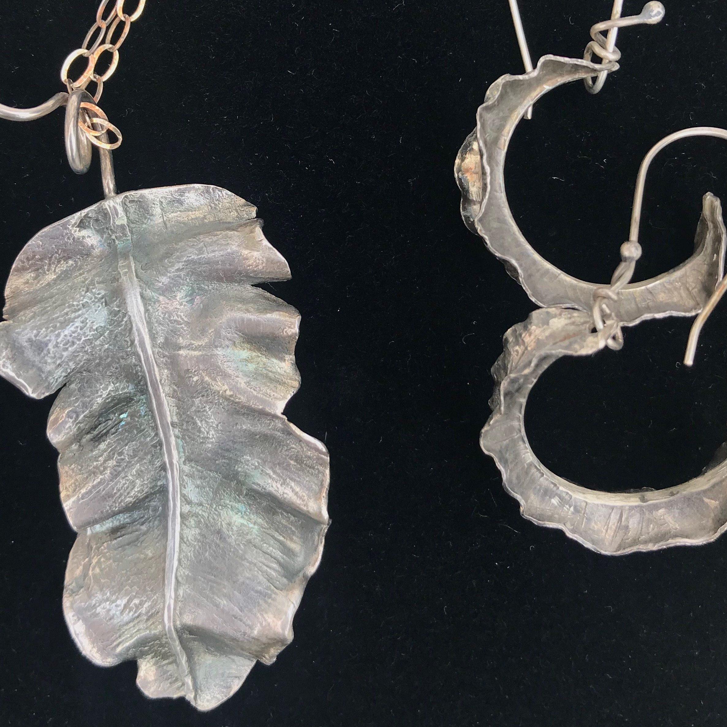 leaf pendant and earrings Dina LaMontagne August 2018 Art Market